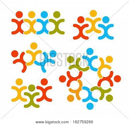 Isolated human silhouettes holding hands logo collection. People unity logotype set. Round shape icon on white background. Abstract colorful vector illustrations