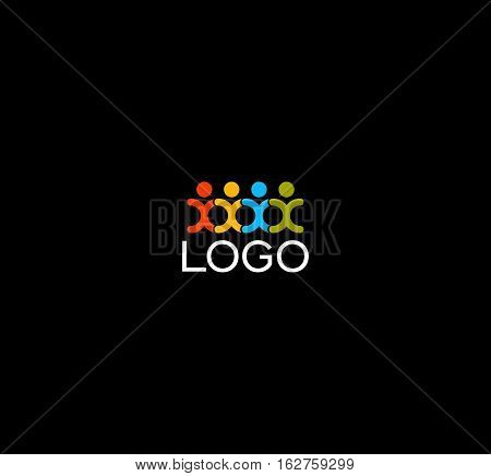 Isolated human silhouettes holding hands logo. People unity logotype. Abstract colorful vector illustration on black background