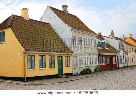 Cobblestone Street In Odense, Denmark