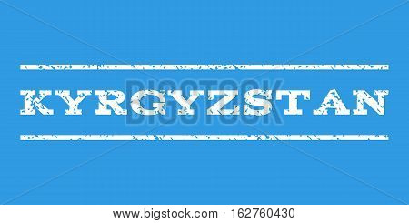 Kyrgyzstan watermark stamp. Text tag between horizontal parallel lines with grunge design style. Rubber seal stamp with unclean texture. Vector white color ink imprint on a blue background.