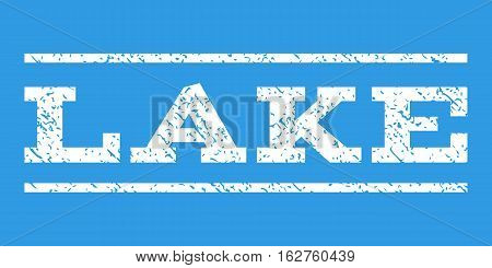 Lake watermark stamp. Text tag between horizontal parallel lines with grunge design style. Rubber seal stamp with unclean texture. Vector white color ink imprint on a blue background.