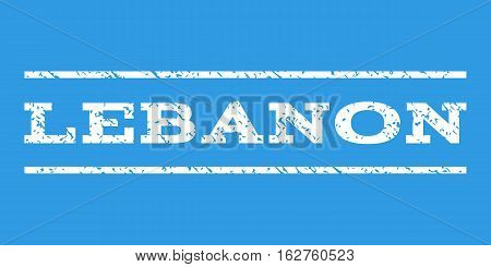 Lebanon watermark stamp. Text caption between horizontal parallel lines with grunge design style. Rubber seal stamp with dirty texture. Vector white color ink imprint on a blue background.