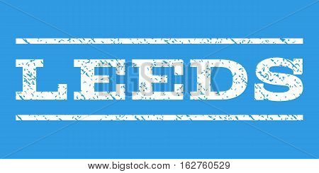 Leeds watermark stamp. Text caption between horizontal parallel lines with grunge design style. Rubber seal stamp with scratched texture. Vector white color ink imprint on a blue background.