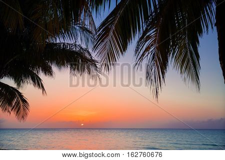 amazing gorgeous beautiful view of warm inviting sunset time at Cuban Cayo Coco island