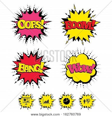Comic Boom, Wow, Oops sound effects. Diagram graph Pie chart icon. Presentation billboard symbol. Supply and demand. Man standing with pointer. Speech bubbles in pop art. Vector