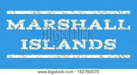 Marshall Islands watermark stamp. Text caption between horizontal parallel lines with grunge design style. Rubber seal stamp with dirty texture. Vector white color ink imprint on a blue background.