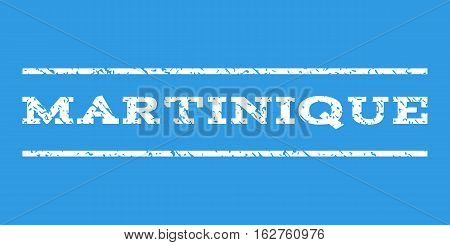 Martinique watermark stamp. Text tag between horizontal parallel lines with grunge design style. Rubber seal stamp with dirty texture. Vector white color ink imprint on a blue background.