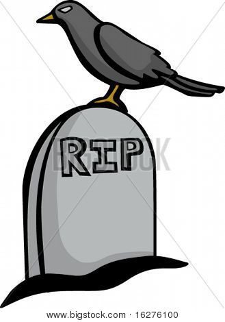 crow standing in a tomb