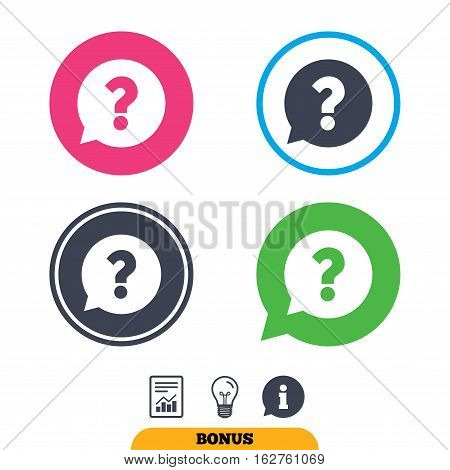 Question mark sign icon. Help speech bubble symbol. FAQ sign. Report document, information sign and light bulb icons. Vector