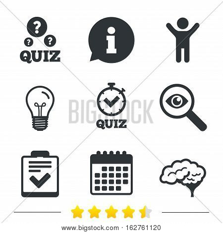Quiz icons. Human brain think. Checklist and stopwatch timer symbol. Survey poll or questionnaire feedback form sign. Information, light bulb and calendar icons. Investigate magnifier. Vector