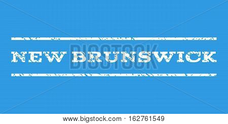 New Brunswick watermark stamp. Text tag between horizontal parallel lines with grunge design style. Rubber seal stamp with dirty texture. Vector white color ink imprint on a blue background.