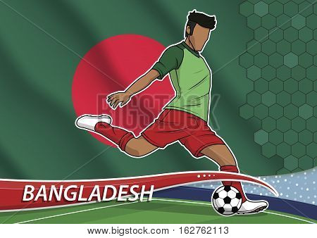 Vector illustration of football player shooting on goal. Soccer team player in uniform with state national flag of bangladesh.