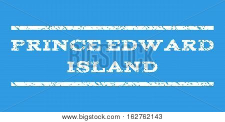 Prince Edward Island watermark stamp. Text caption between horizontal parallel lines with grunge design style. Rubber seal stamp with dust texture. Vector white color ink imprint on a blue background.