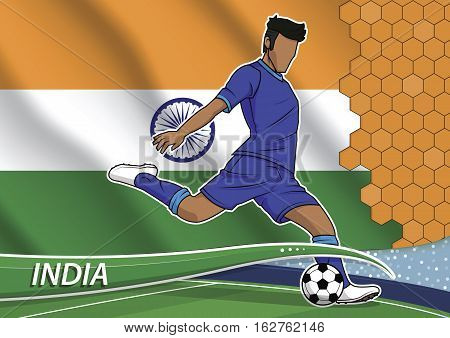 Vector illustration of football player shooting on goal. Soccer team player in uniform with state national flag of india.