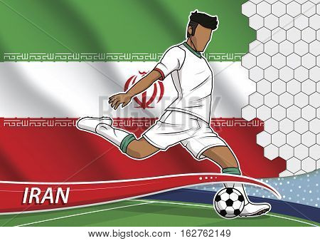 Vector illustration of football player shooting on goal. Soccer team player in uniform with state national flag of iran.