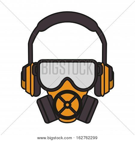Headphone masj and glasses icon. Industrial security safety and protection theme. Isolated design. Vector illustration