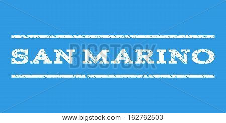 San Marino watermark stamp. Text caption between horizontal parallel lines with grunge design style. Rubber seal stamp with unclean texture. Vector white color ink imprint on a blue background.