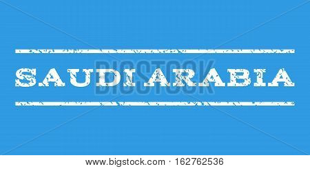 Saudi Arabia watermark stamp. Text tag between horizontal parallel lines with grunge design style. Rubber seal stamp with dust texture. Vector white color ink imprint on a blue background.