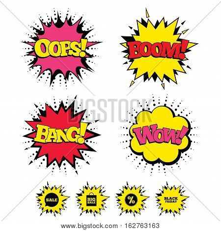 Comic Boom, Wow, Oops sound effects. Sale speech bubble icon. Discount star symbol. Black friday sign. Big sale shopping bag. Speech bubbles in pop art. Vector