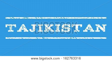 Tajikistan watermark stamp. Text tag between horizontal parallel lines with grunge design style. Rubber seal stamp with unclean texture. Vector white color ink imprint on a blue background.