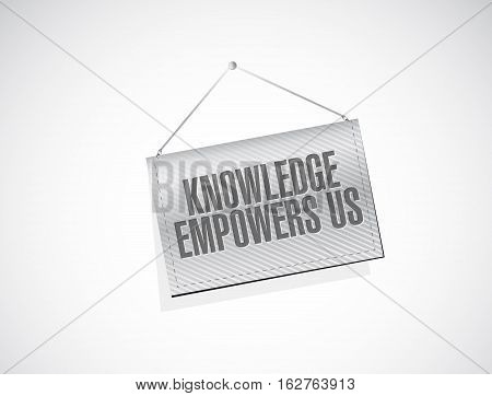 Knowledge Empowers Us Hanging Banner Sign Concept