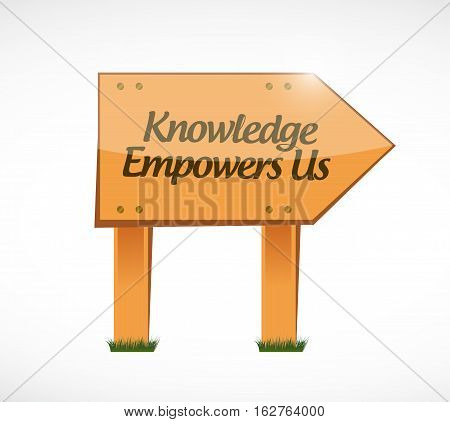 Knowledge Empowers Us Wood Sign Concept