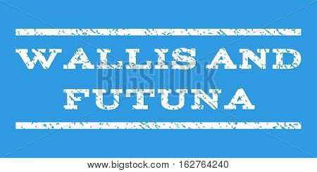Wallis and Futuna watermark stamp. Text caption between horizontal parallel lines with grunge design style. Rubber seal stamp with dirty texture. Vector white color ink imprint on a blue background.