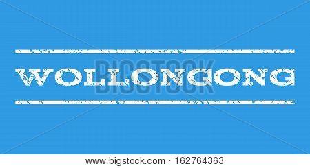 Wollongong watermark stamp. Text tag between horizontal parallel lines with grunge design style. Rubber seal stamp with scratched texture. Vector white color ink imprint on a blue background.