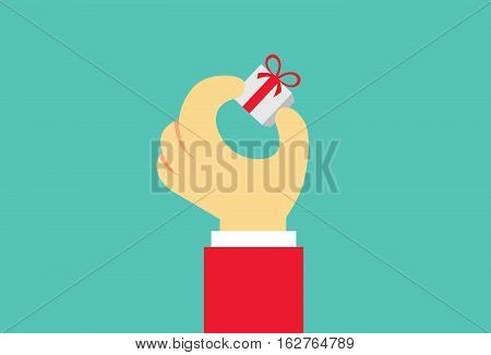 Hand holding small gift box with fingers. Illustration about special day of people.