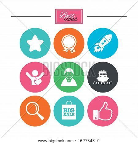 Online shopping, e-commerce and business icons. Start up, award and customers like signs. Big sale, shipment and favorite symbols. Colorful flat buttons with icons. Vector