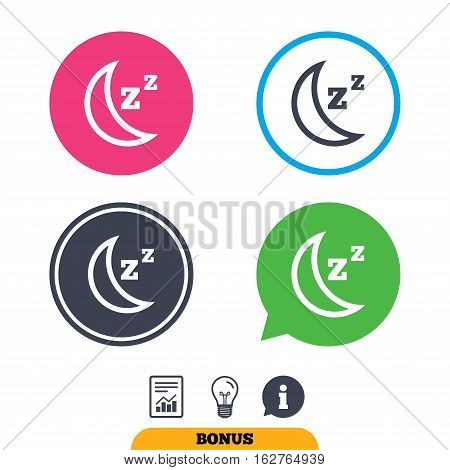 Sleep sign icon. Moon with zzz button. Standby. Report document, information sign and light bulb icons. Vector