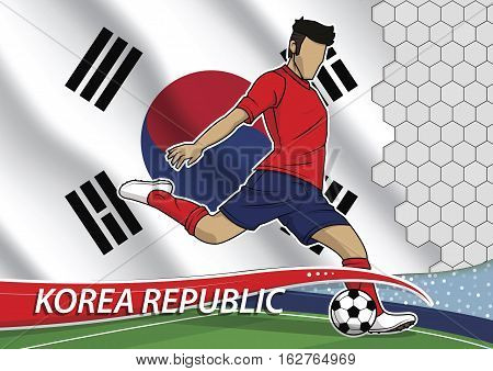 Vector illustration of football player shooting on goal. Soccer team player in uniform with state national flag of korea republic.
