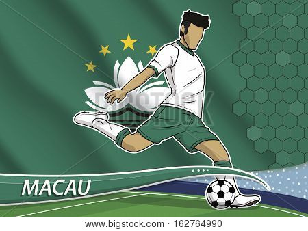 Vector illustration of football player shooting on goal. Soccer team player in uniform with state national flag of macau.