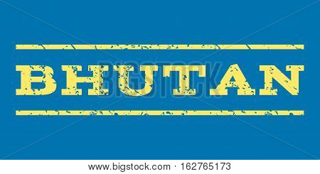 Bhutan watermark stamp. Text tag between horizontal parallel lines with grunge design style. Rubber seal stamp with unclean texture. Vector yellow color ink imprint on a blue background.