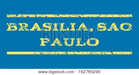 Brasilia, Sao Paulo watermark stamp. Text caption between horizontal parallel lines with grunge design style. Rubber seal stamp with dust texture. Vector yellow color ink imprint on a blue background.