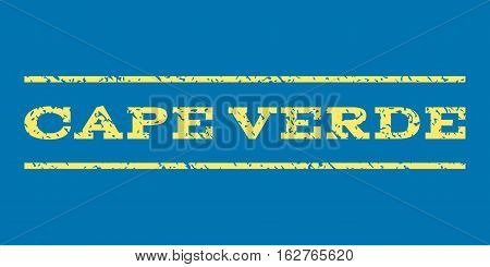 Cape Verde watermark stamp. Text tag between horizontal parallel lines with grunge design style. Rubber seal stamp with dust texture. Vector yellow color ink imprint on a blue background.