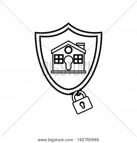 House and padlock icon. Insurance security protection and safety theme. Isolated design. Vector illustration