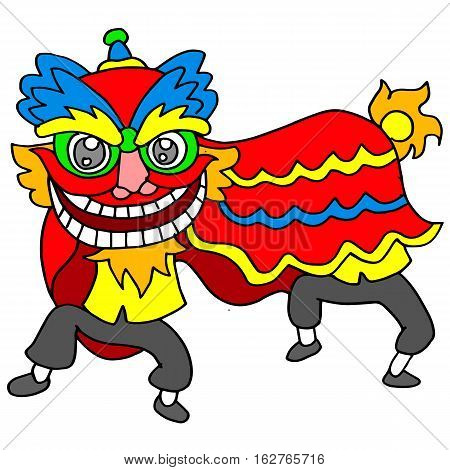 Vector illustration of lion dance Chinese collection
