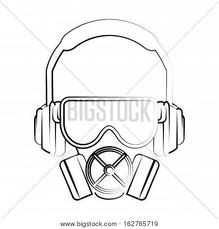Headphone glasses and mask icon. Industrial security safety and protection theme. Isolated design. Vector illustration