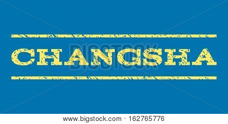 Changsha watermark stamp. Text tag between horizontal parallel lines with grunge design style. Rubber seal stamp with dust texture. Vector yellow color ink imprint on a blue background.