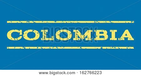 Colombia watermark stamp. Text caption between horizontal parallel lines with grunge design style. Rubber seal stamp with scratched texture. Vector yellow color ink imprint on a blue background.