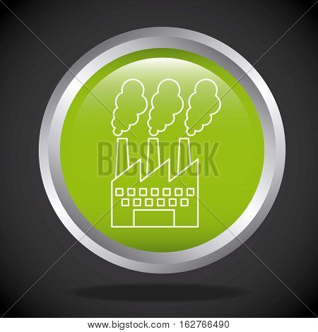 button with factory building icon over black background. colorful design. vector illustration