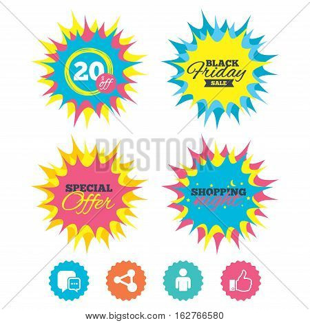 Shopping night, black friday stickers. Social media icons. Chat speech bubble and Share link symbols. Like thumb up finger sign. Human person profile. Special offer. Vector