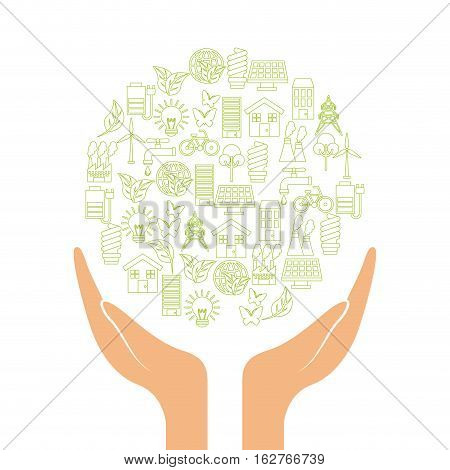 hands with green ideas and ecology icons in circle shape over white background. colorful design. vector illustration