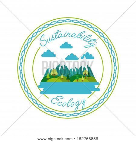 seal stamp with mountains landscape icon over white background. colorful design. vector illustration