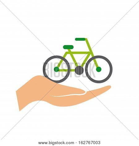 hand with bicycle vehicle icon over white background. colorful design. vector illustration