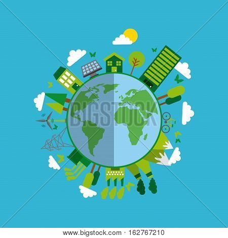 earth planet with ecology and green ideas icons around over blue background. colorful design. vector illustration