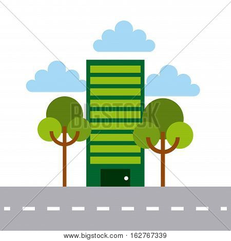 green building and trees over white background. colorful design. vector illustration