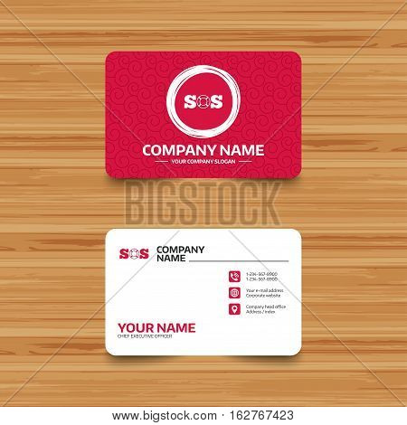 Business card template with texture. SOS sign icon. Lifebuoy symbol. Phone, web and location icons. Visiting card  Vector