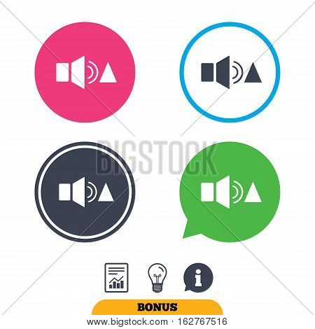 Speaker volume louder sign icon. Sound symbol. Report document, information sign and light bulb icons. Vector